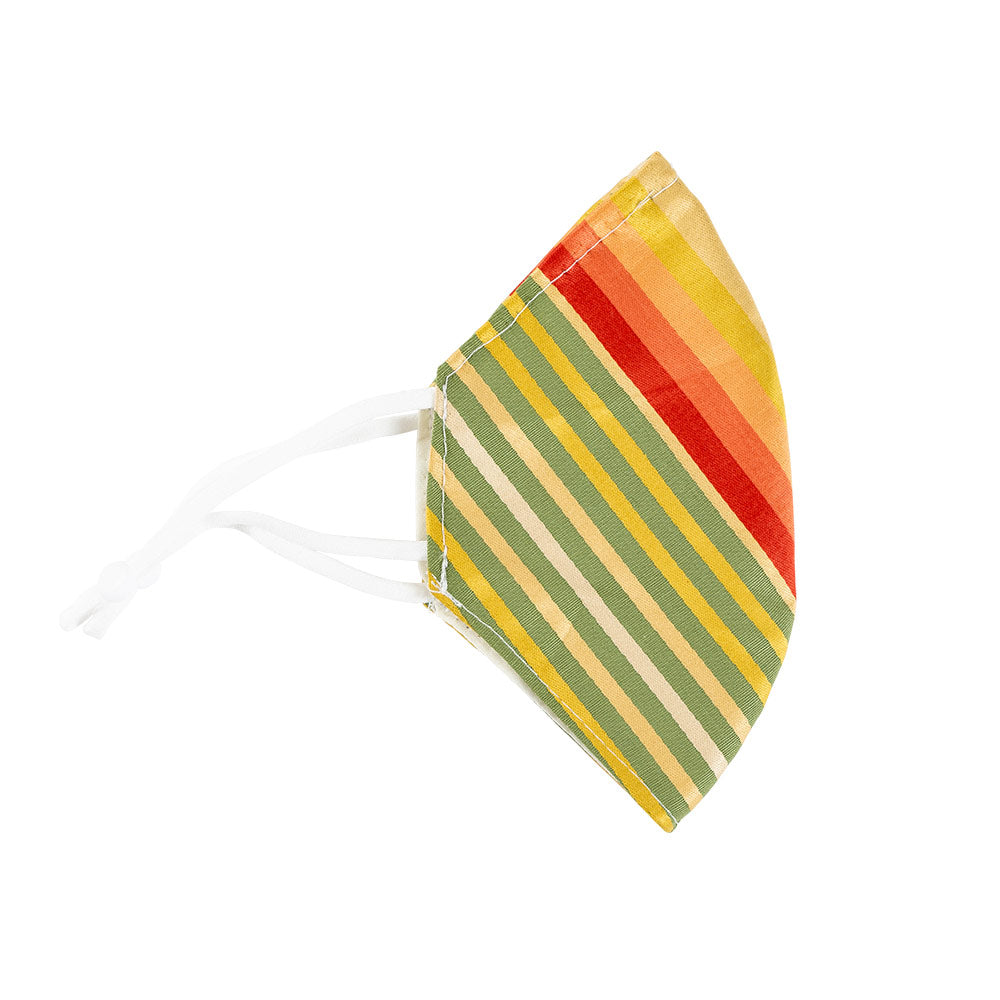Multicolored Angled Stripe Face Mask with Adjustable Elastic Ear Loops