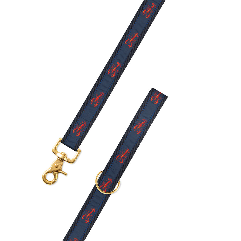 Navy Lobster Motif Dog Leash