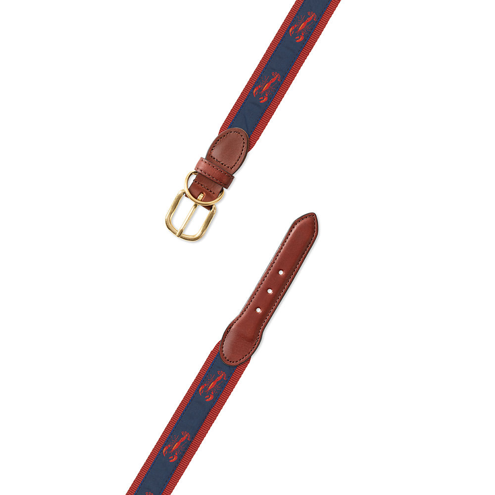 Red & Navy Lobster Motif Dog Collar
