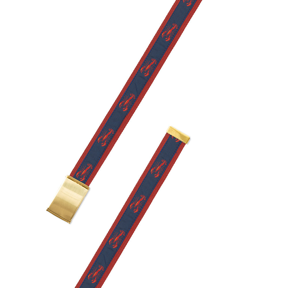 Red & Navy Lobster Motif Military Buckle Belt