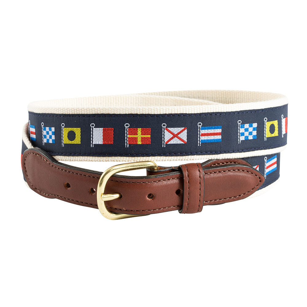 Nautical Flags Motif Leather Tab Belt