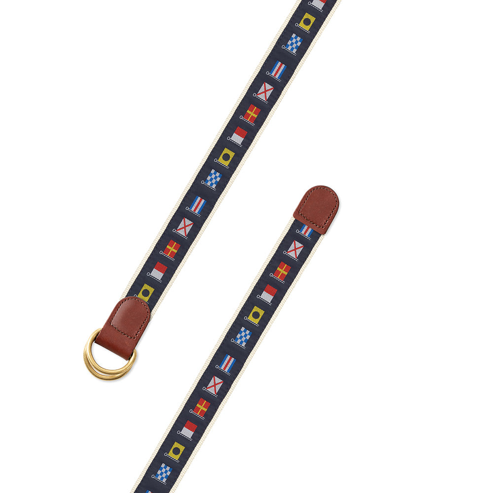 Nautical Flags Motif D-Ring Belt