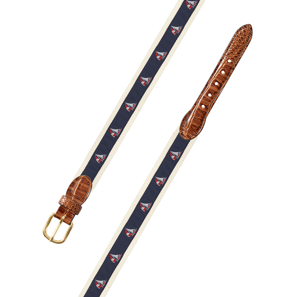 Sailboat Motif Leather Tab Belt