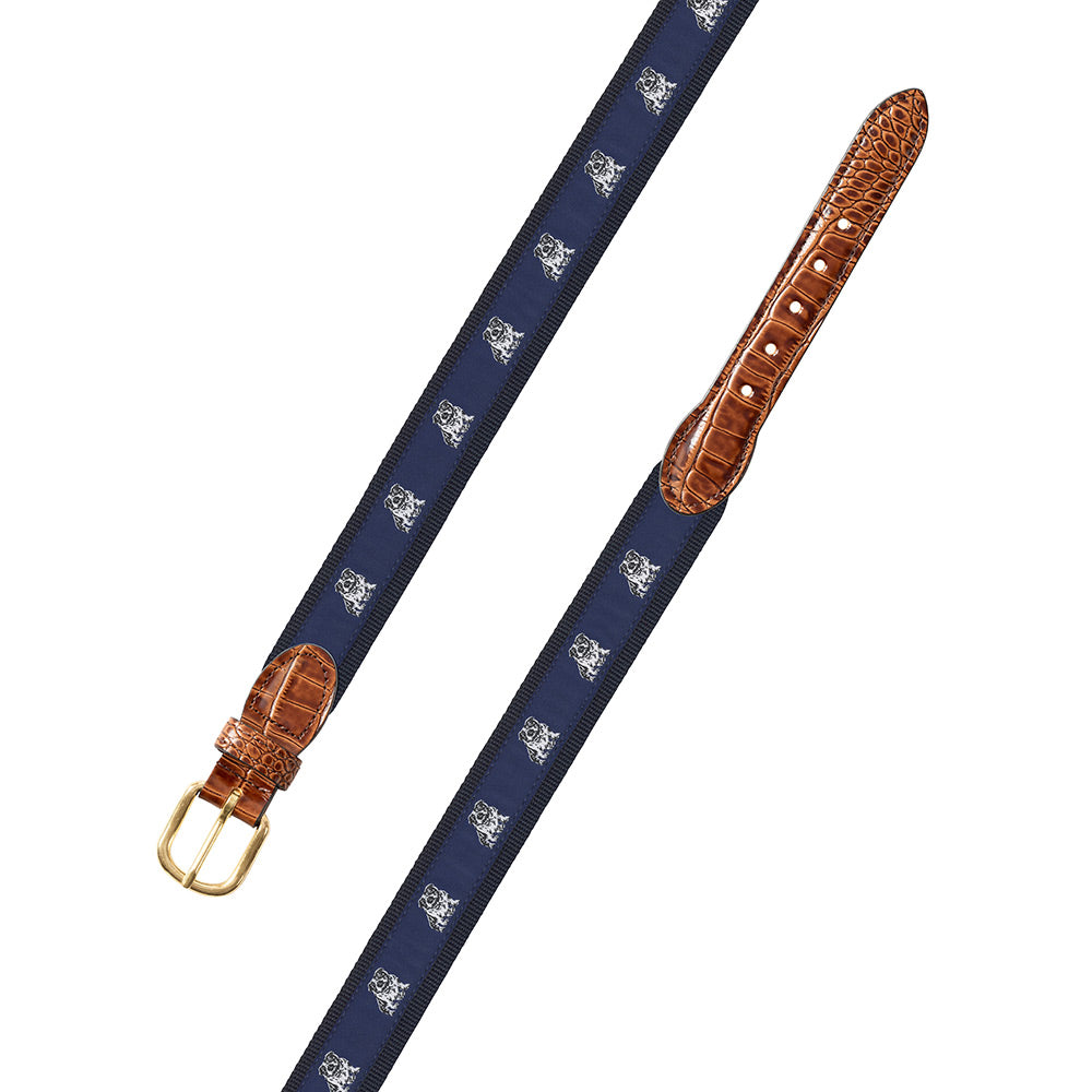 Bull Dog Motif Leather Tab Belt