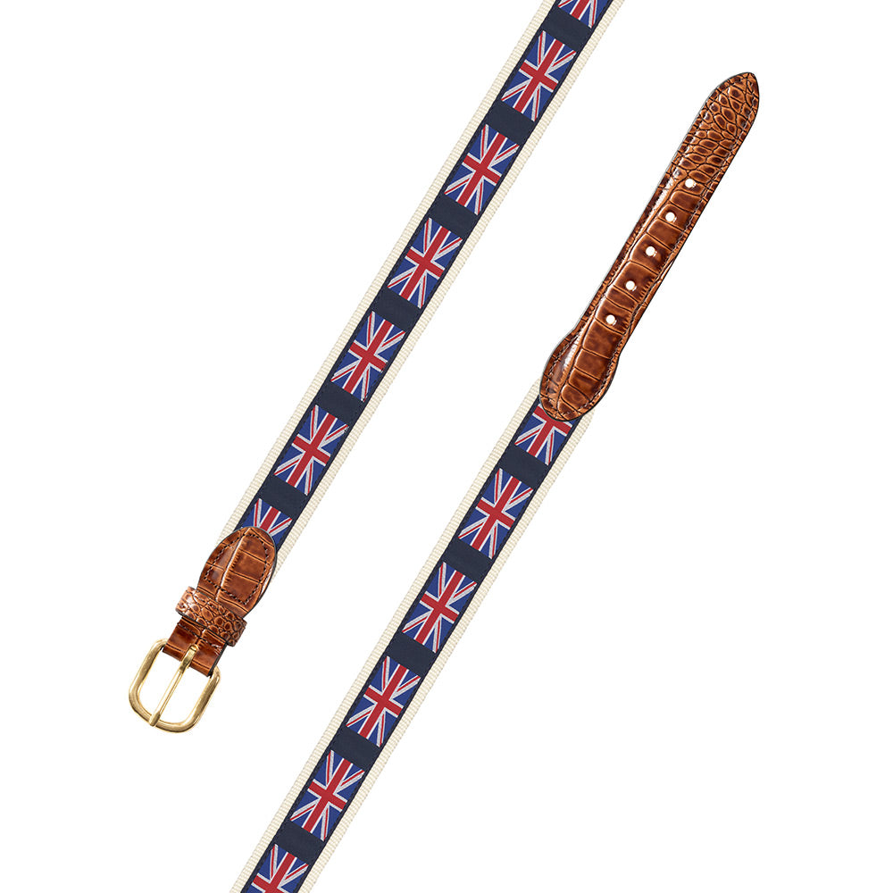 Union Jack on White Motif Leather Tab Belt