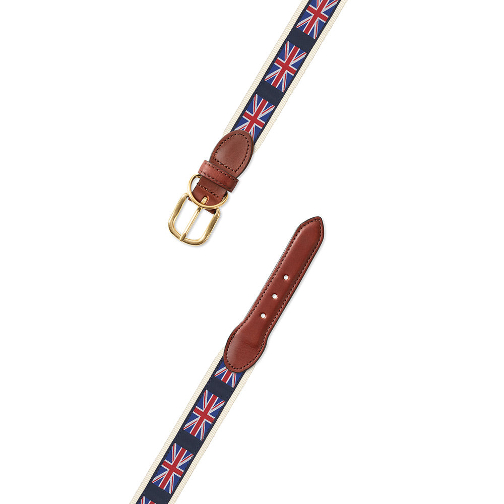 Union Jack on White Motif Dog Collar