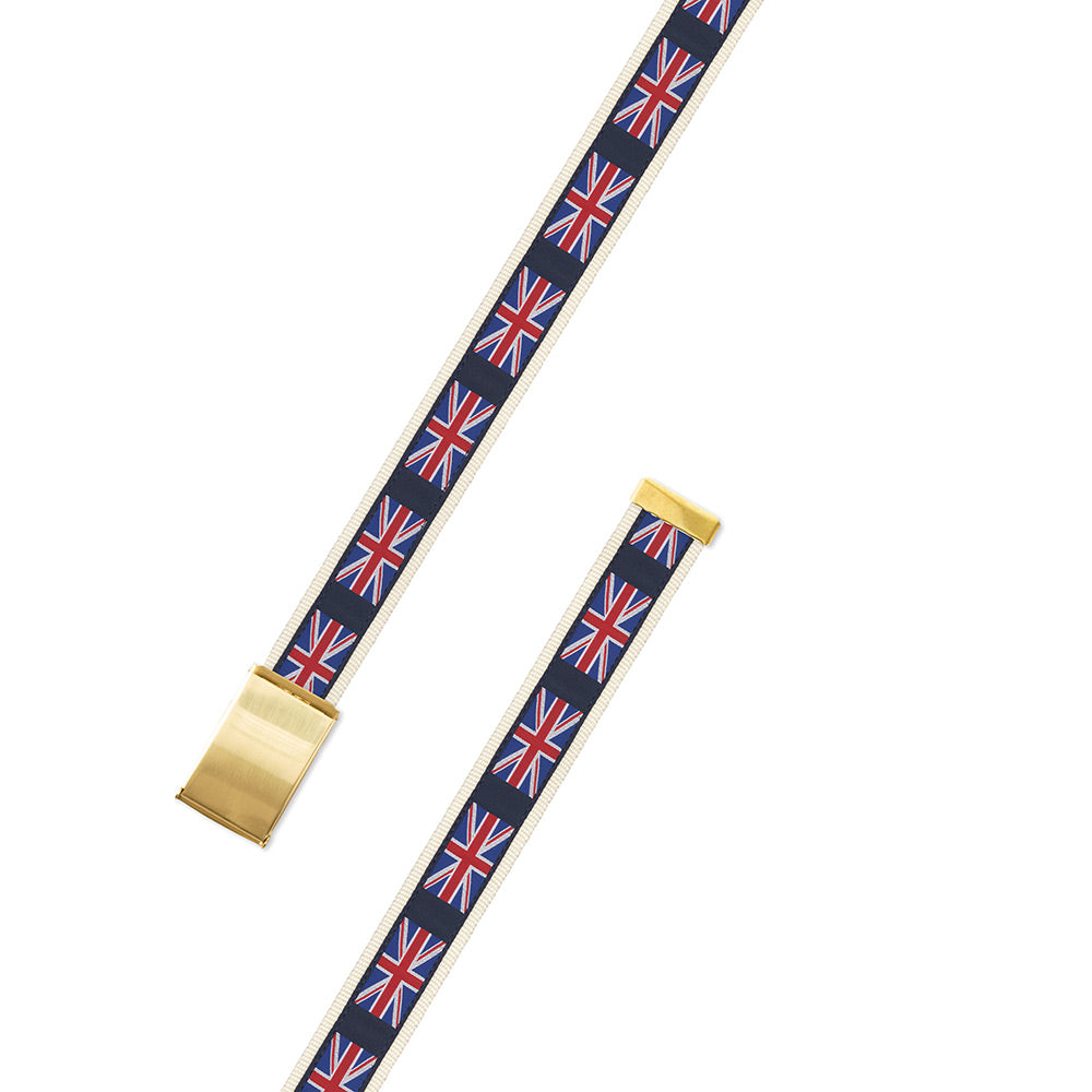 Union Jack on White Motif Military Buckle Belt