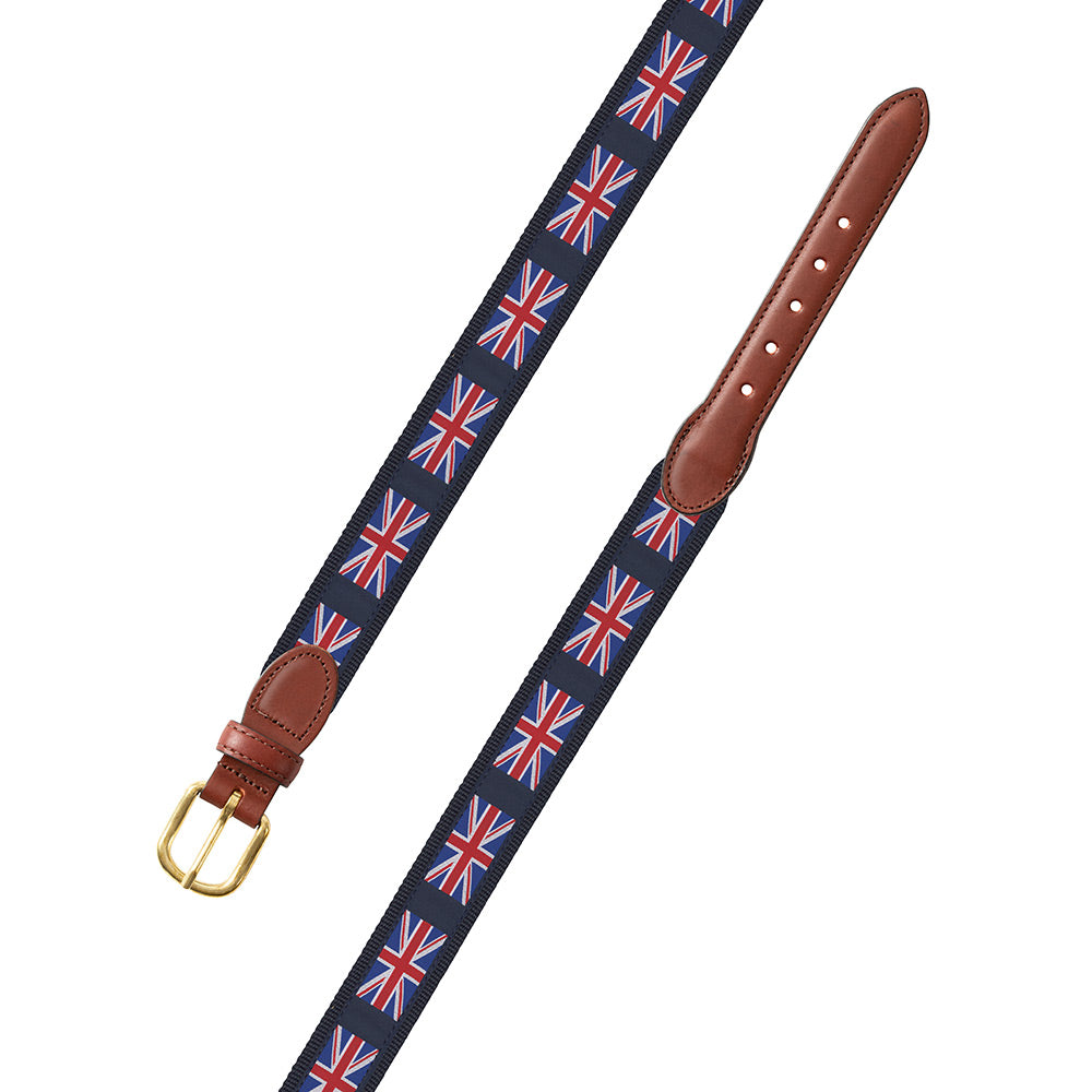 Union Jack on Navy Motif Leather Tab Belt