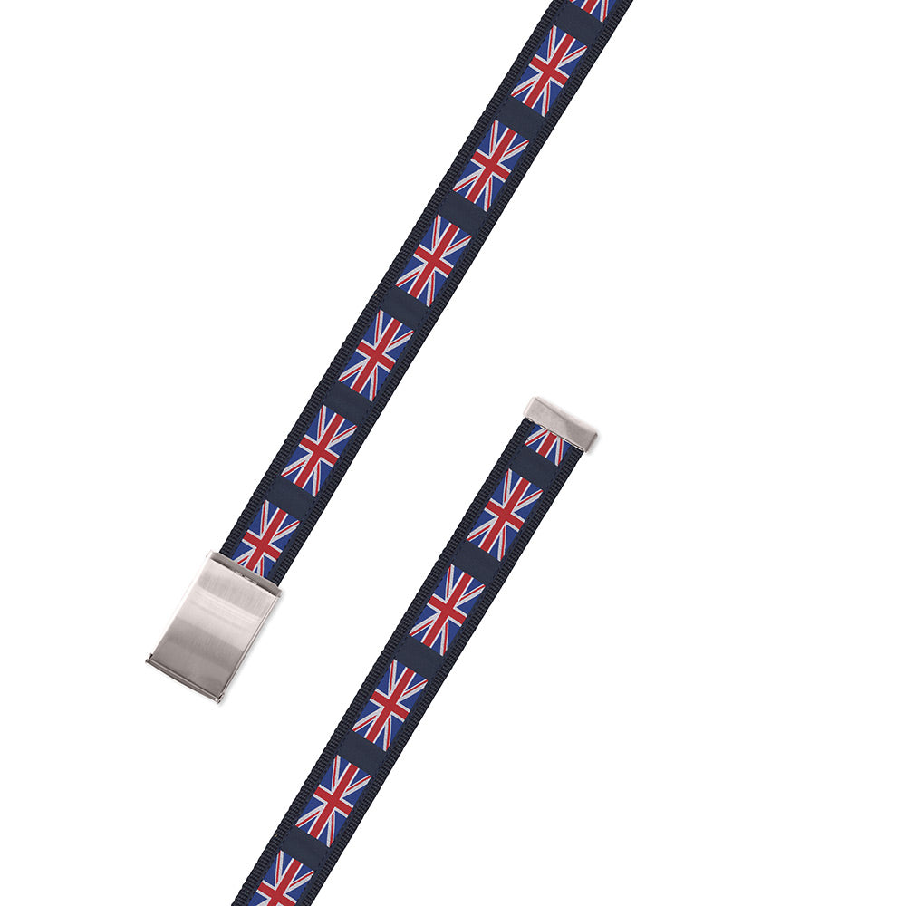 Union Jack on Navy Motif Military Buckle Belt