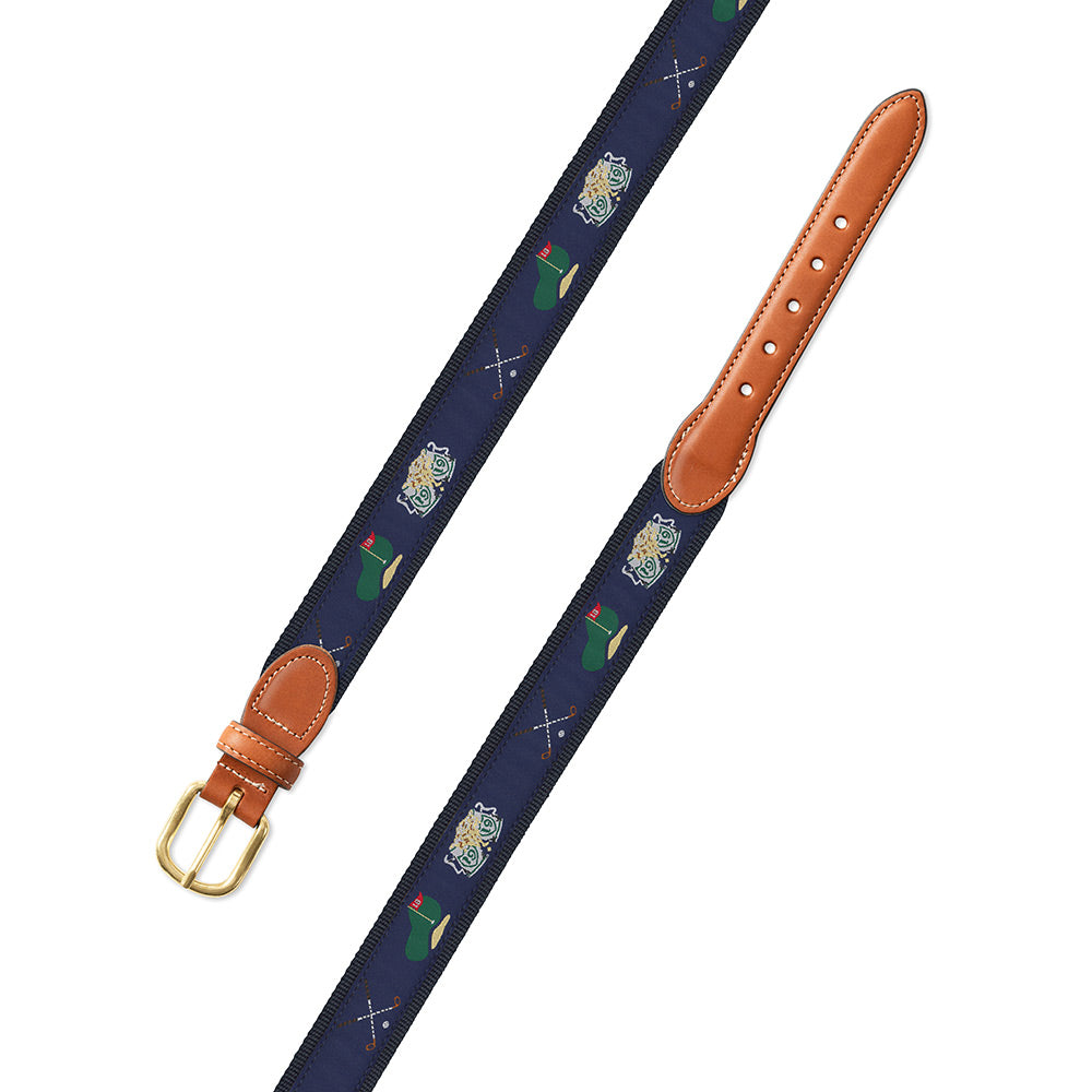 Navy Golf Motif Leather Tab Belt