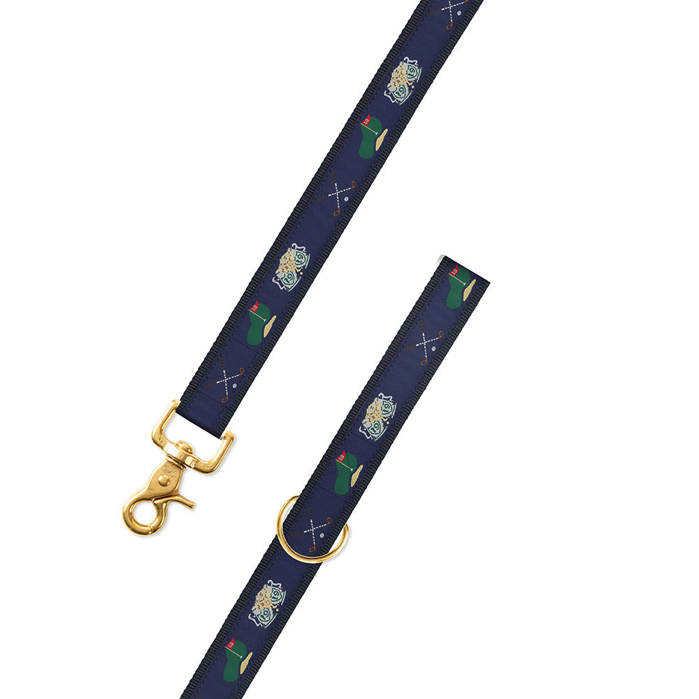 Navy Golf Motif Dog Leash