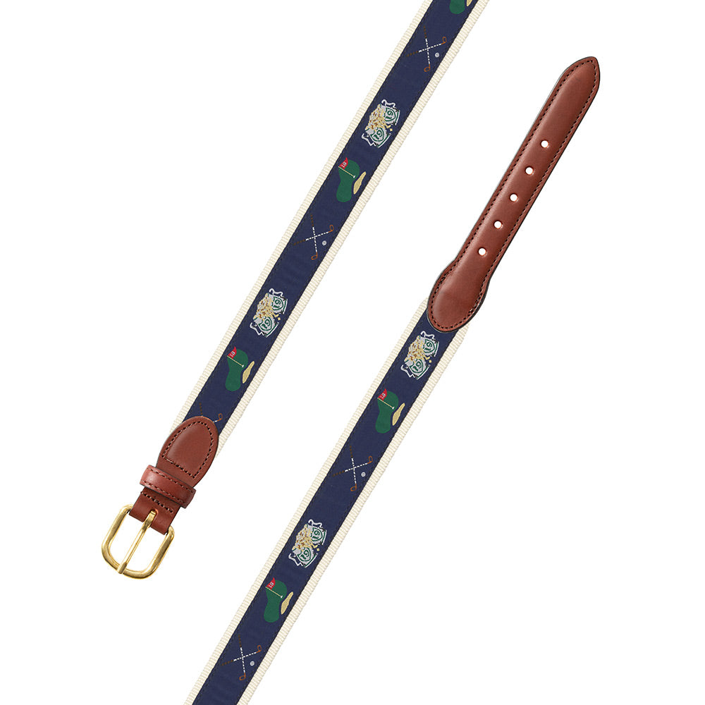 Navy & Natural Golf Motif Children's Belt
