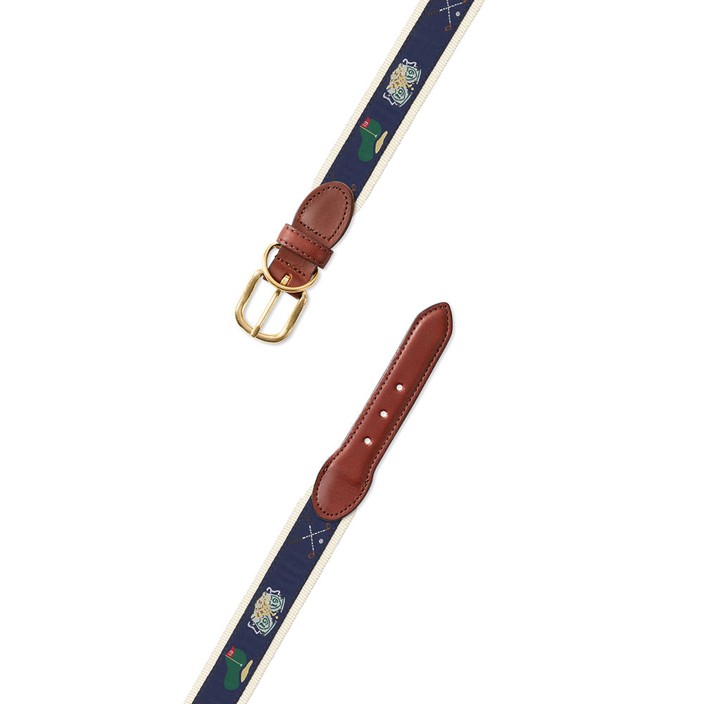 Navy & Natural Golf Motif Dog Collar