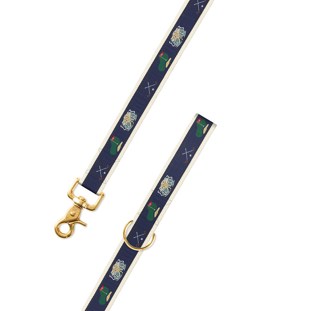 Navy & Natural Golf Motif Dog Leash