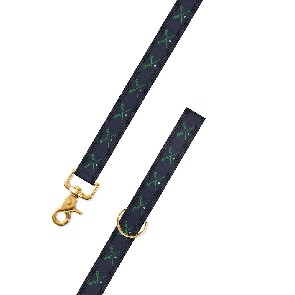 Green Lacrosse Motif Dog Leash