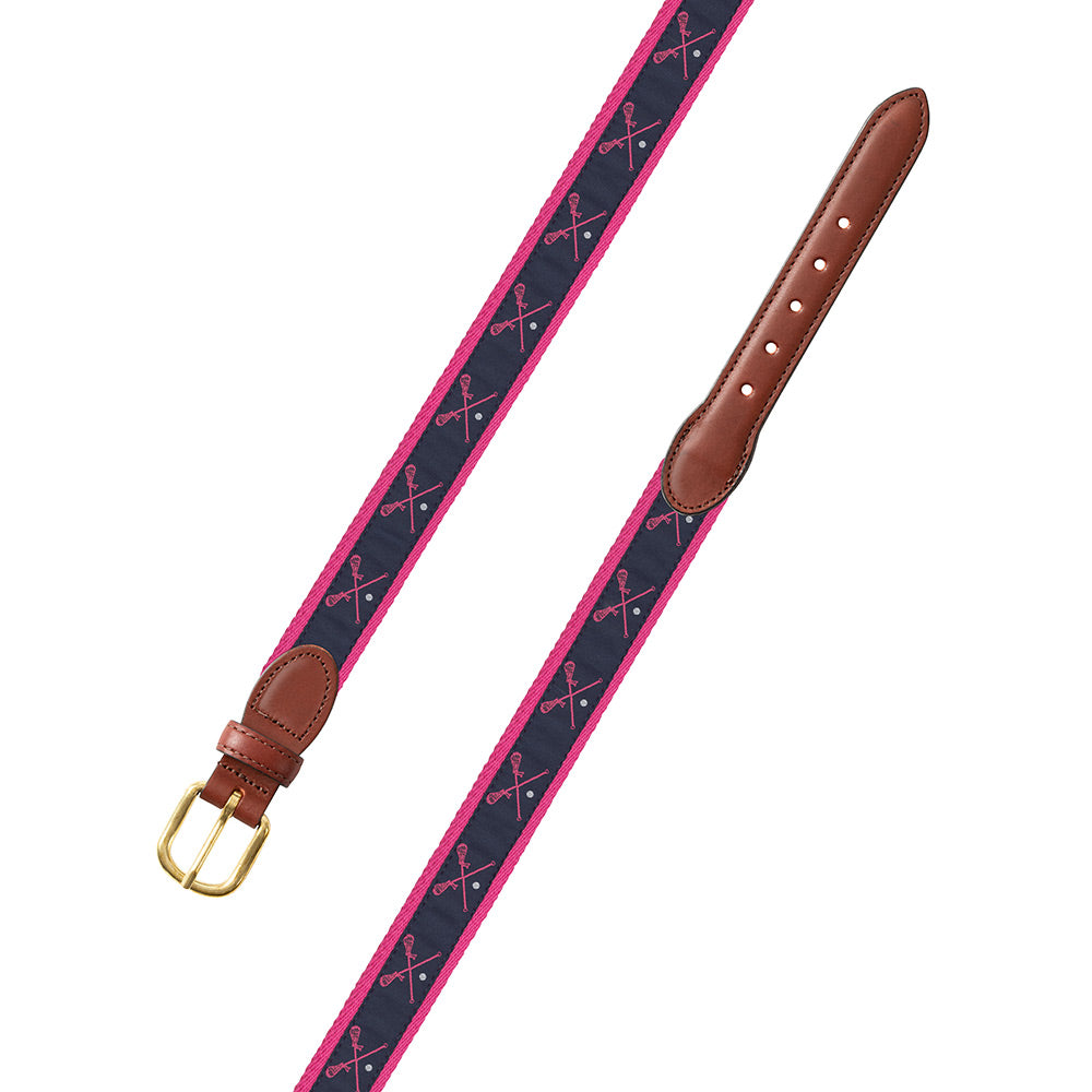 Pink Lacrosse Motif Children's Belt