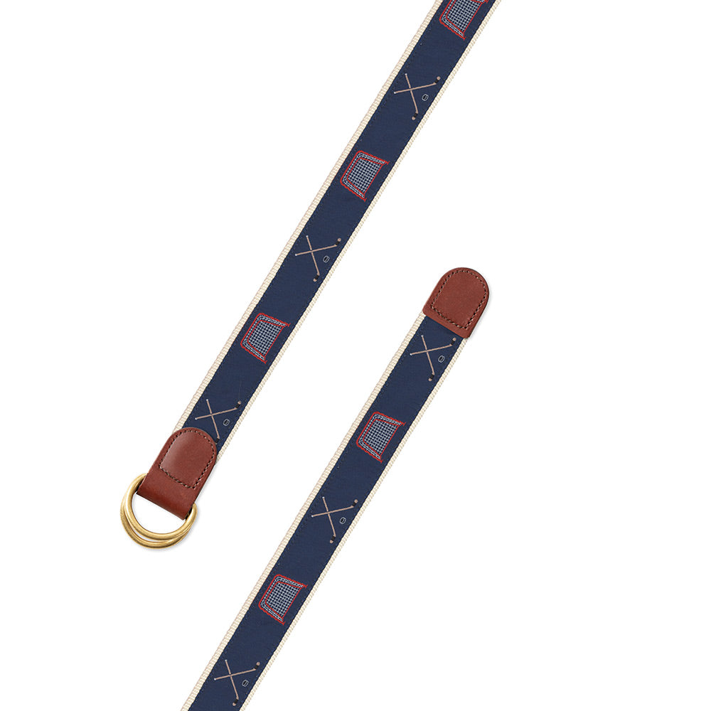 Navy Hockey Motif D-Ring Belt
