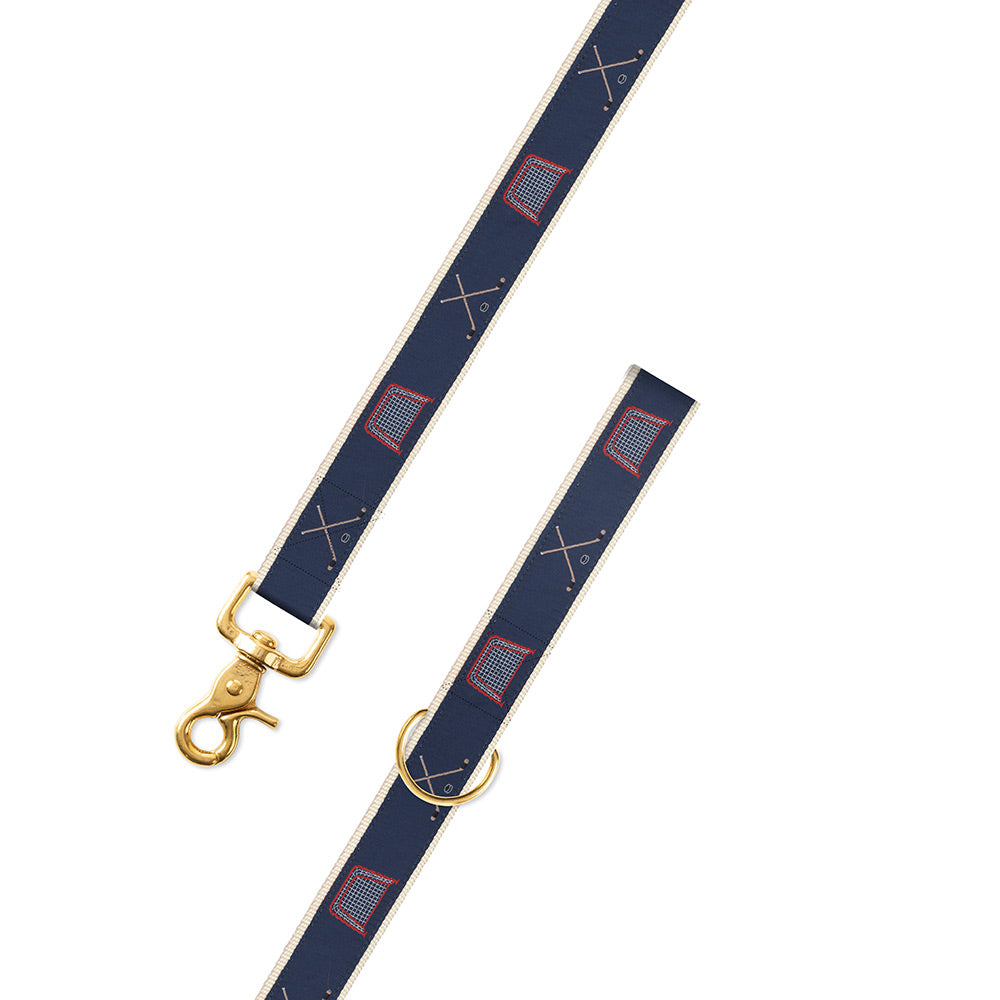 Navy Hockey Motif Dog Leash