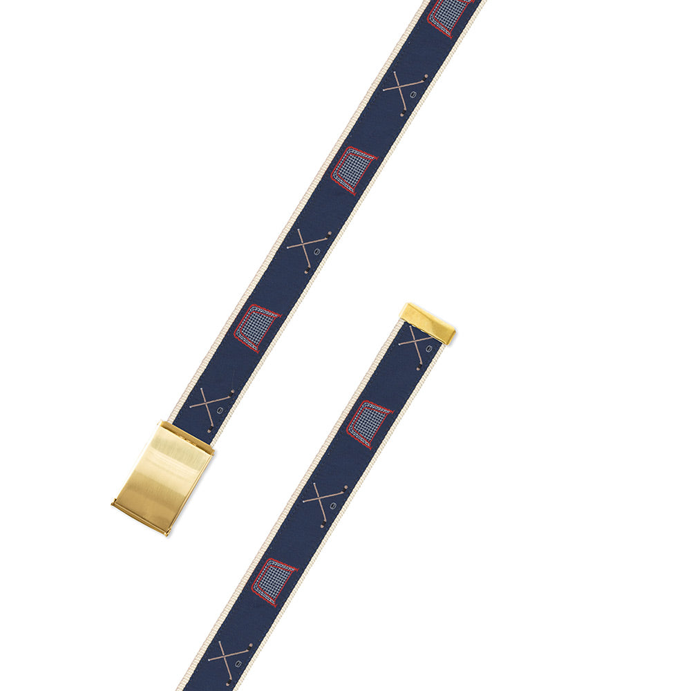 Navy Hockey Motif Military Buckle Belt