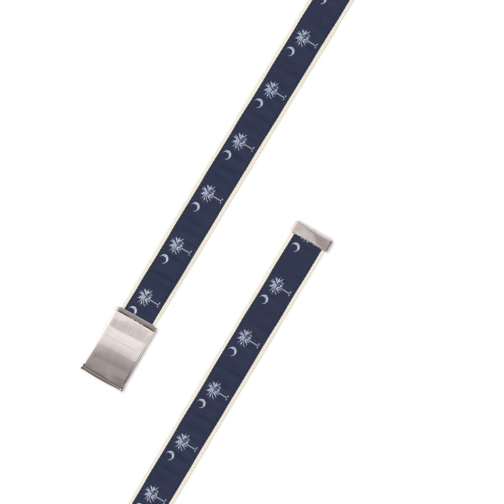 Navy South Carolina Flag Motif Military Buckle Belt