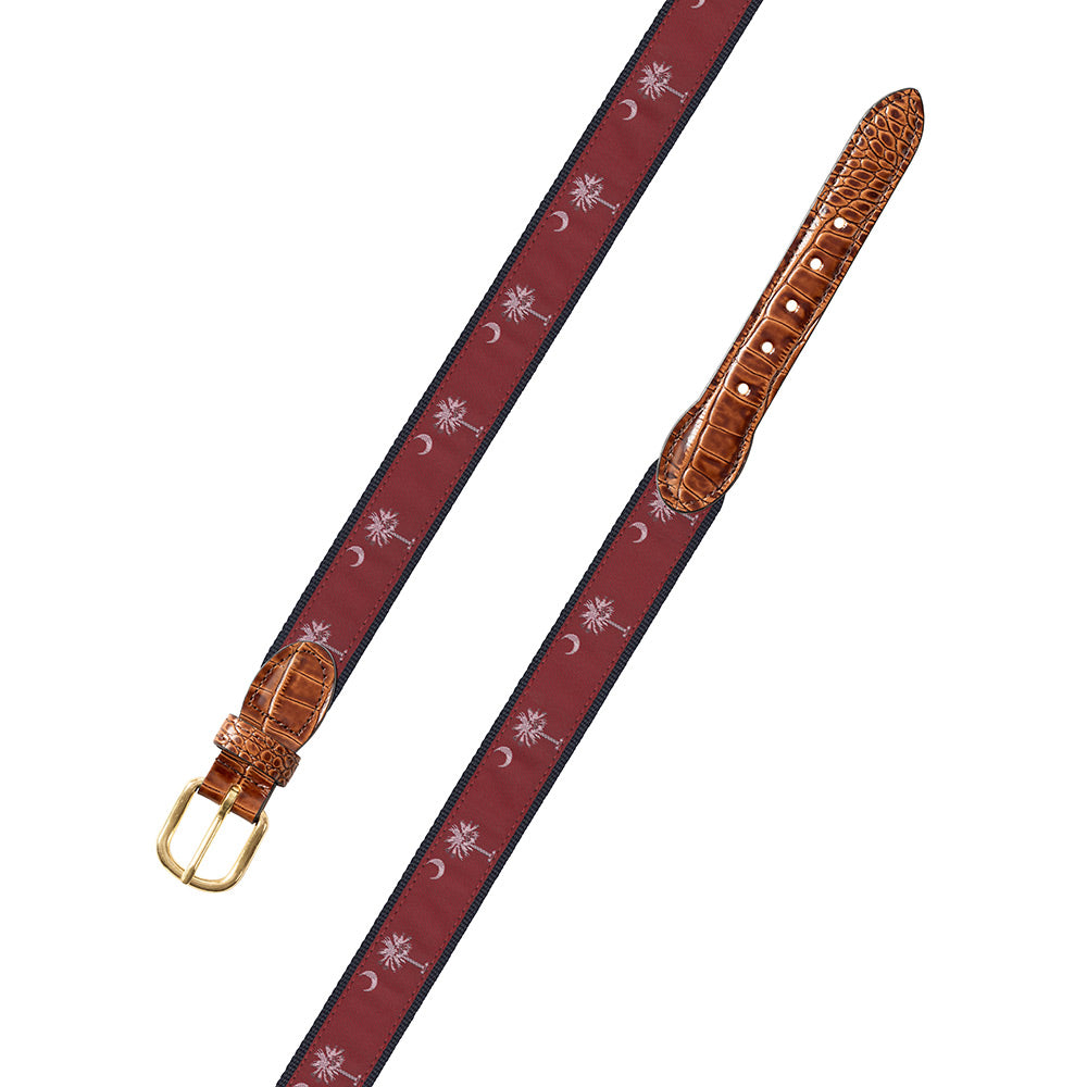 Maroon South Carolina Flag Motif Leather Tab Belt