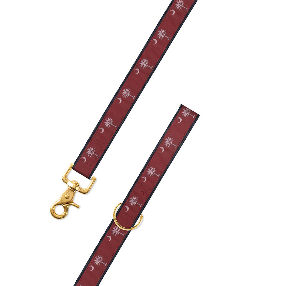 Maroon South Carolina Flag Motif Dog Leash