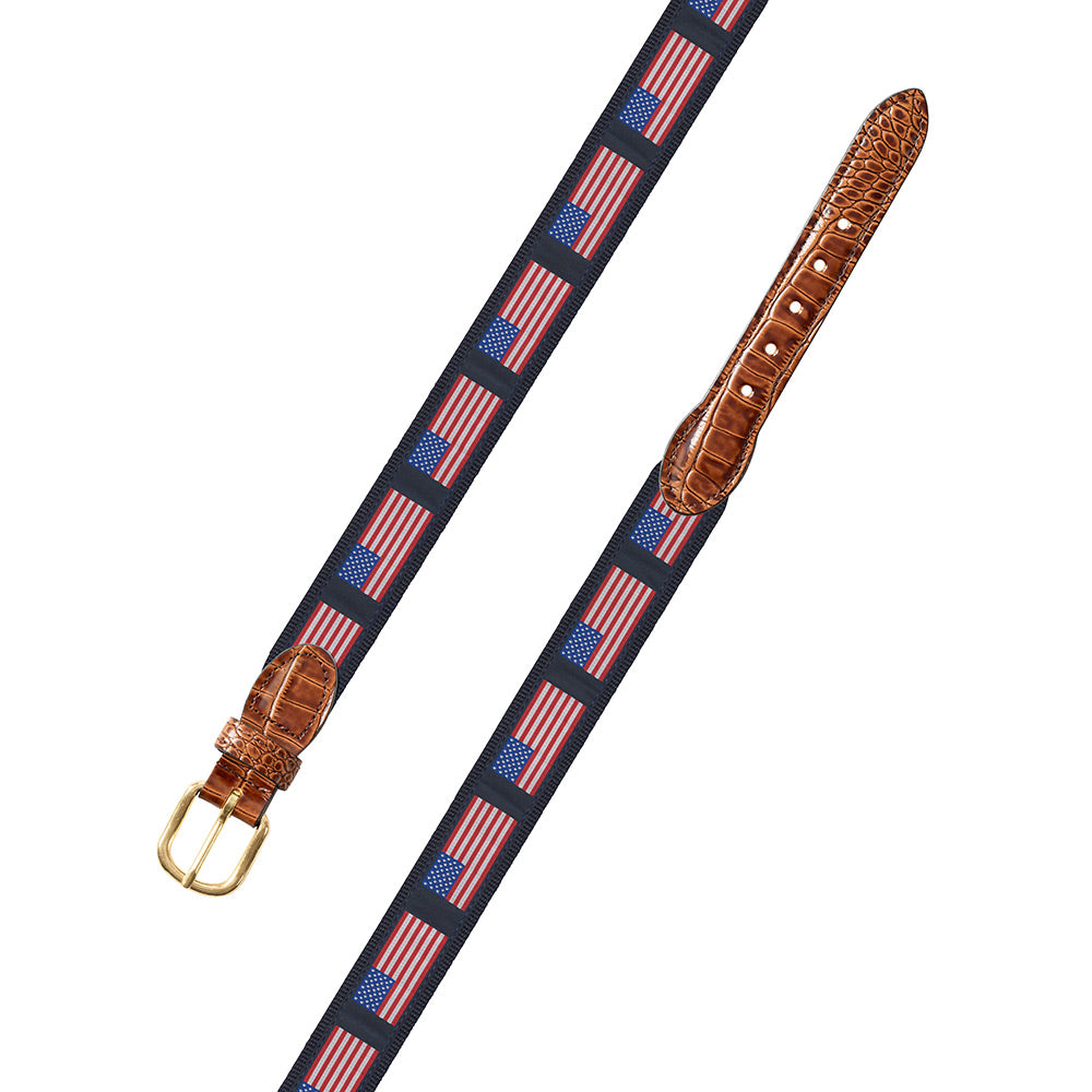 American Flag on Navy Motif Leather Tab Belt