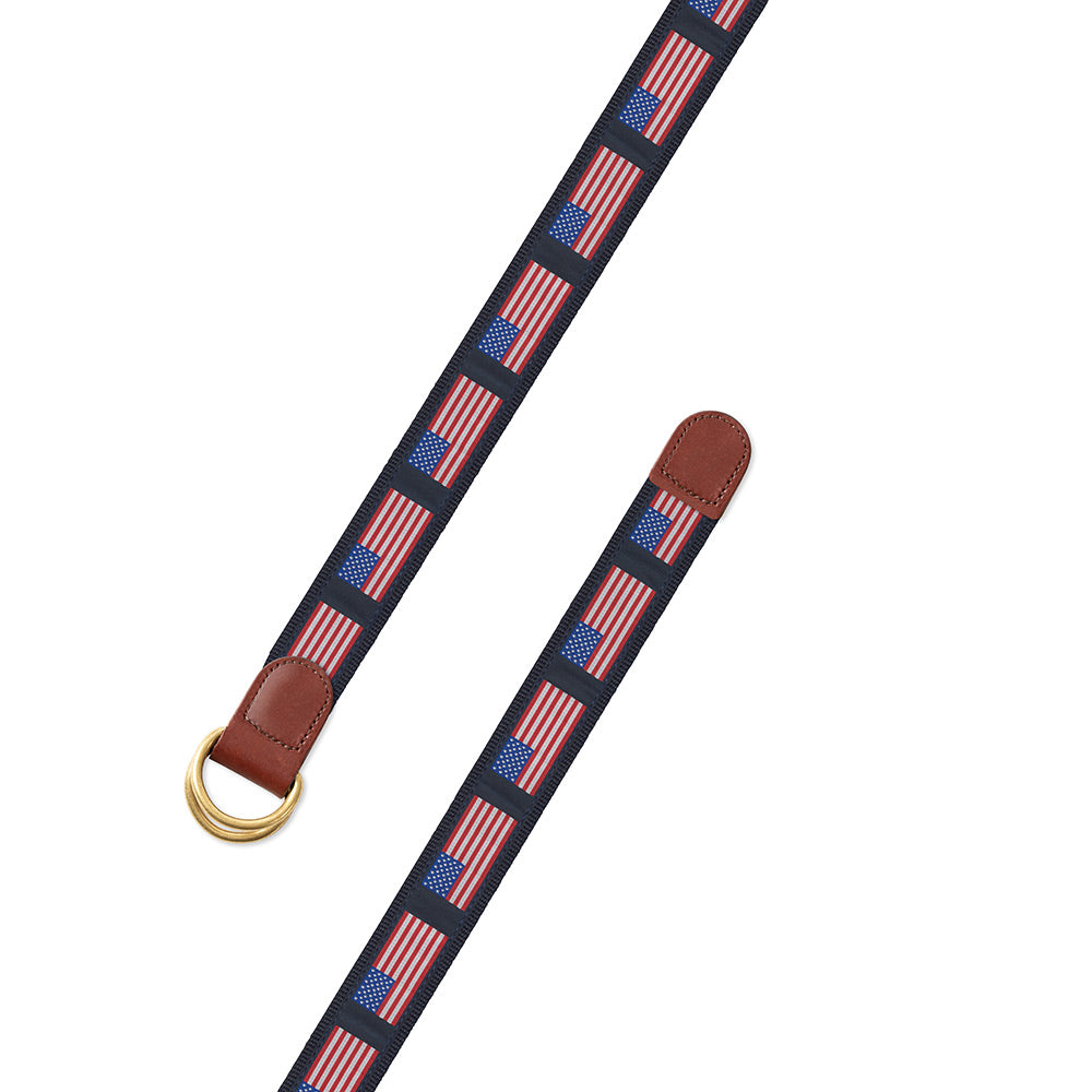 American Flag on Navy Motif D-Ring Belt