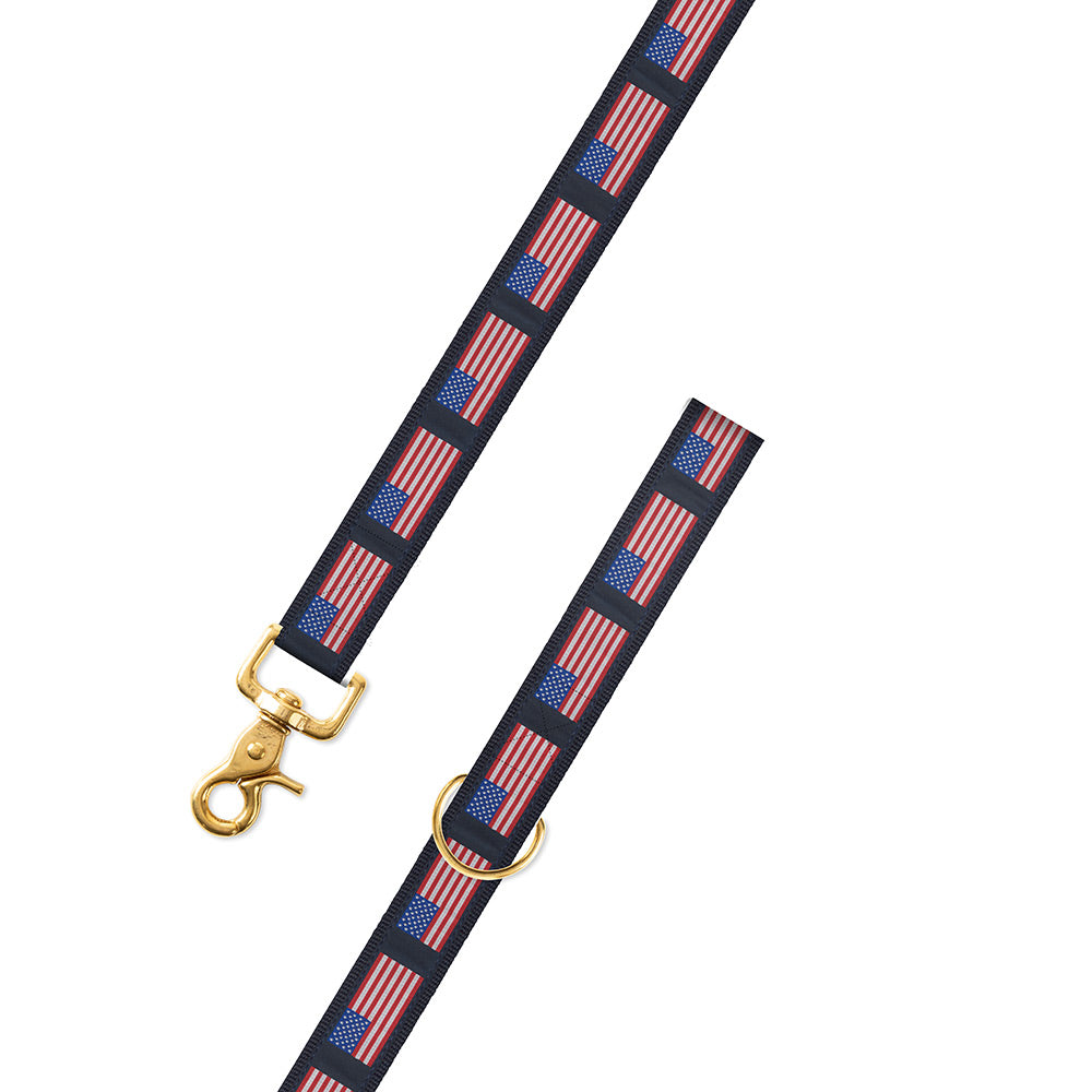 American Flag on Navy Motif Dog Leash