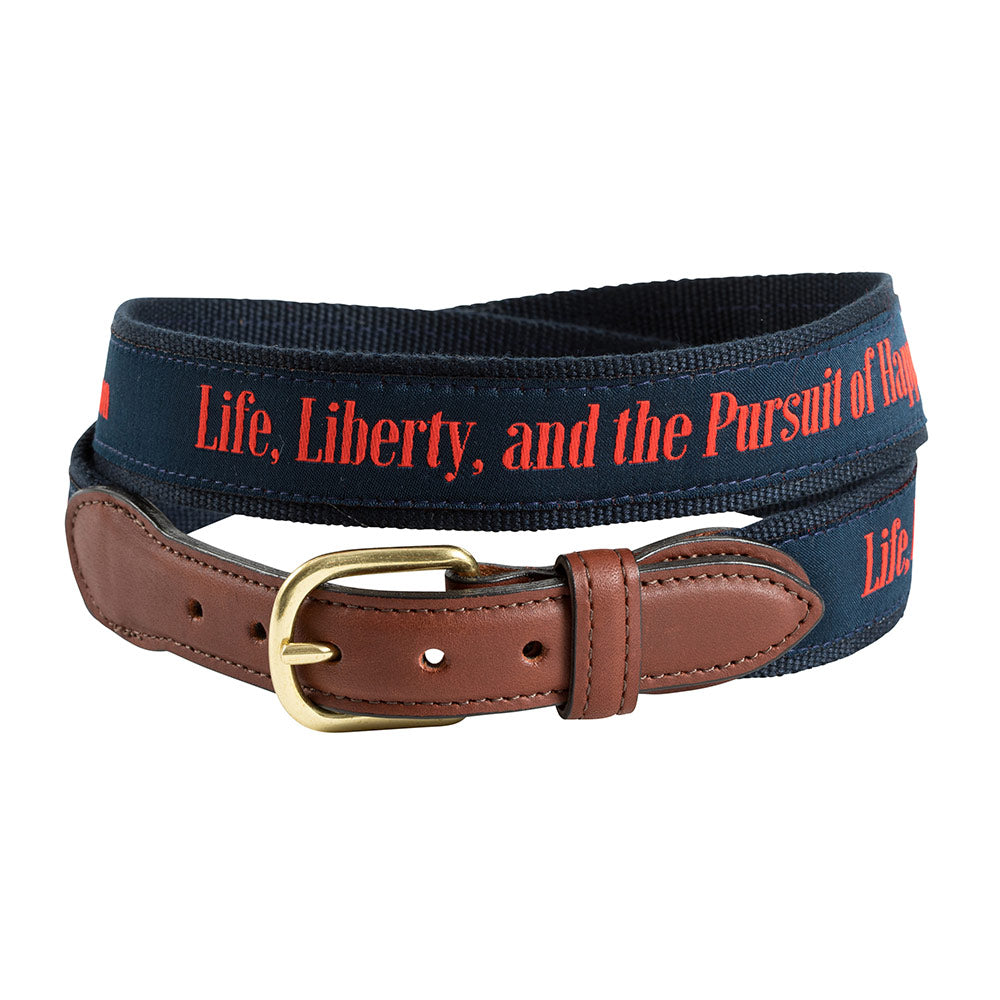 Life, Liberty and the Pursuit of Happiness Bespoken Motif Leather Tab Belt