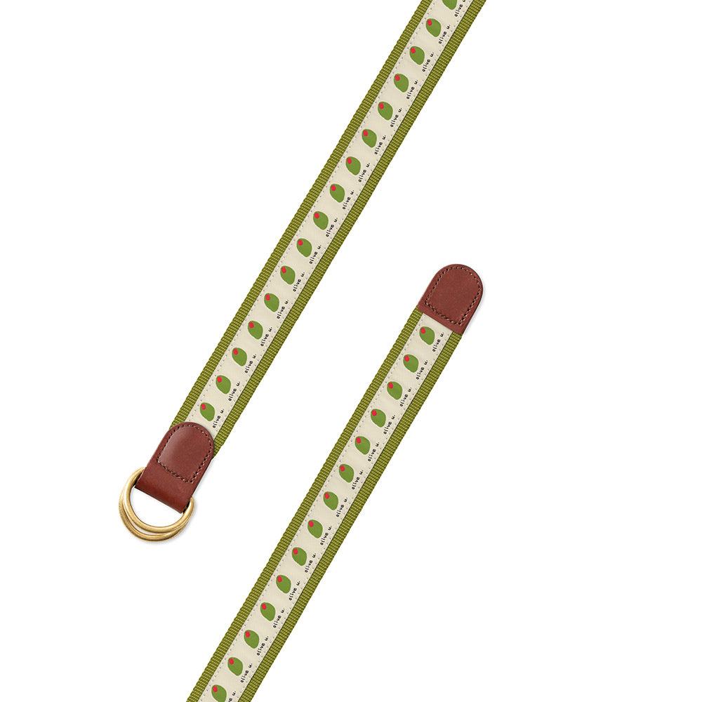 Olive U on Green Bespoken Motif D-Ring Belt