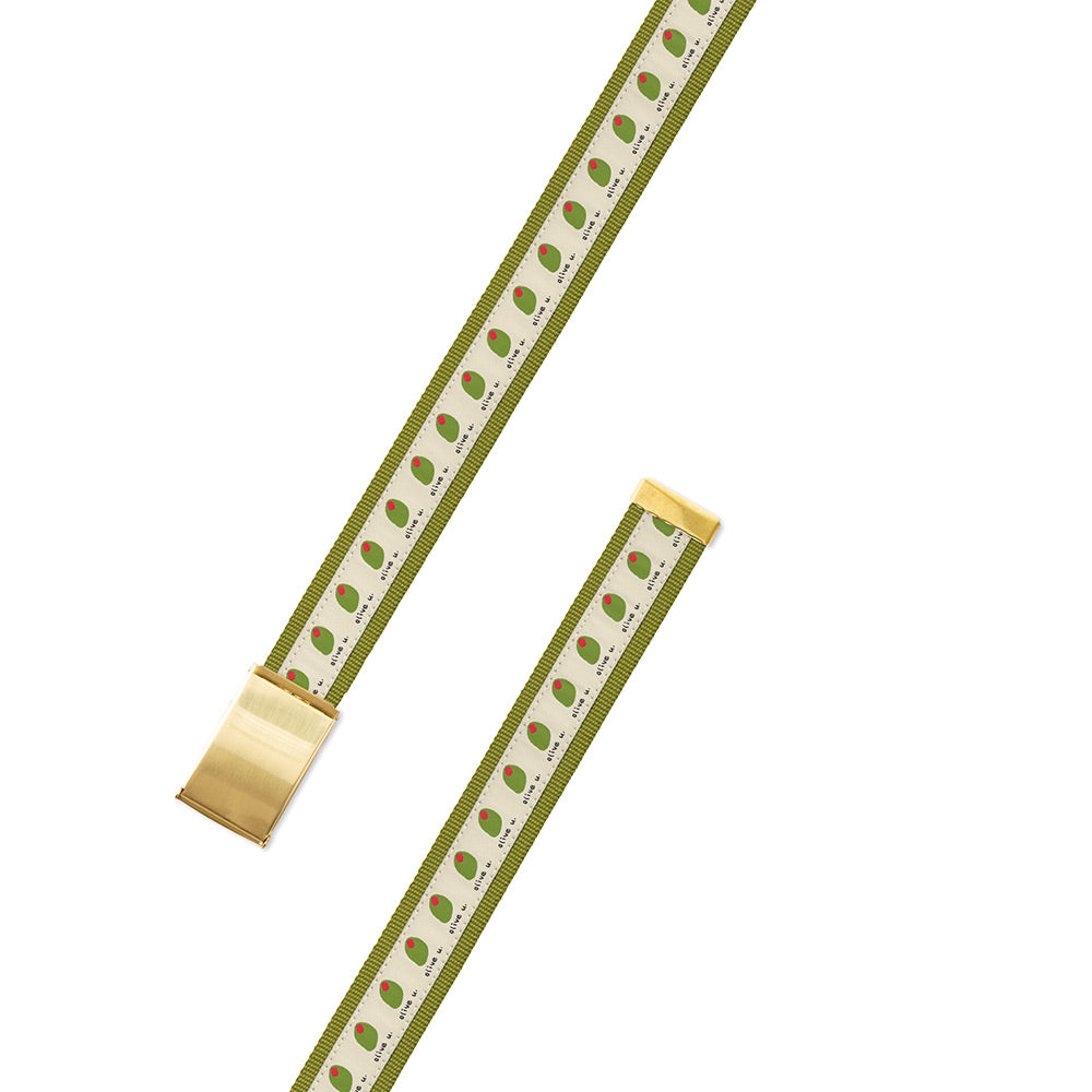 Olive U on Green Bespoken Motif Military Buckle Belt