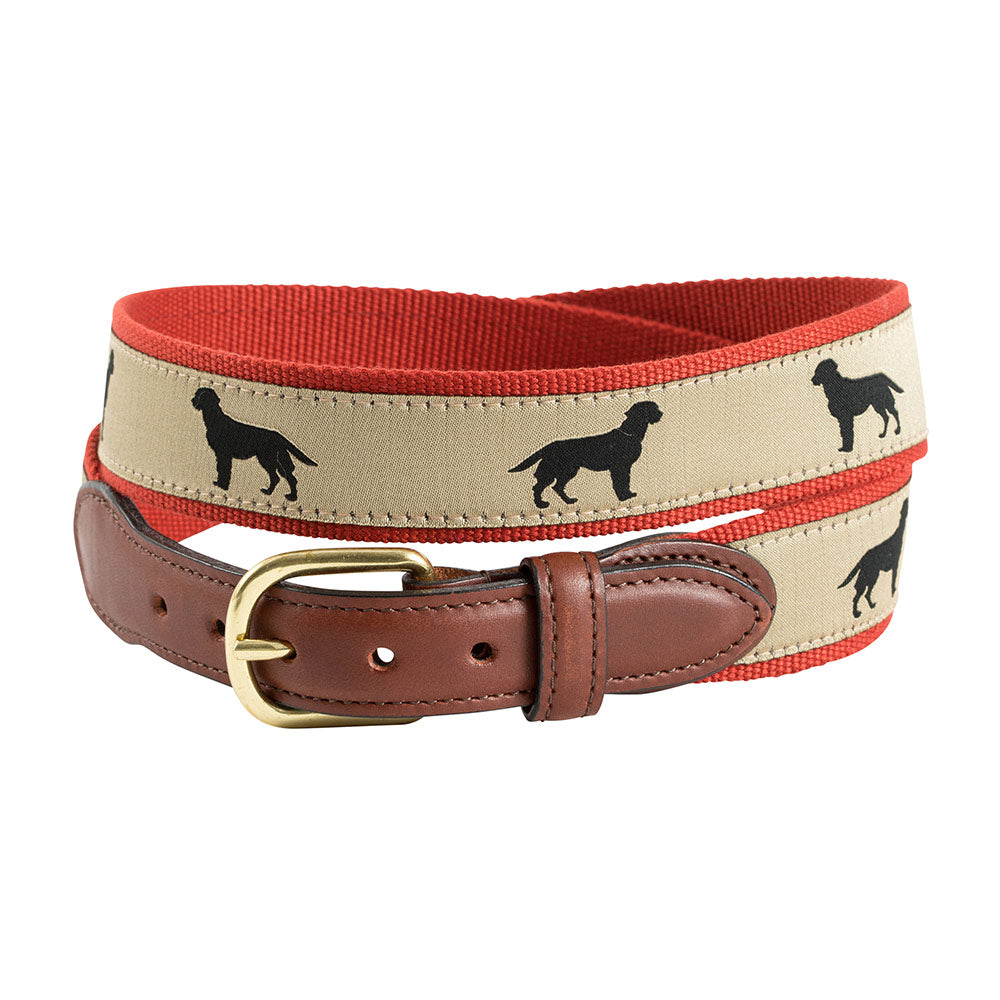 Black Lab Motif Leather Tab Belt