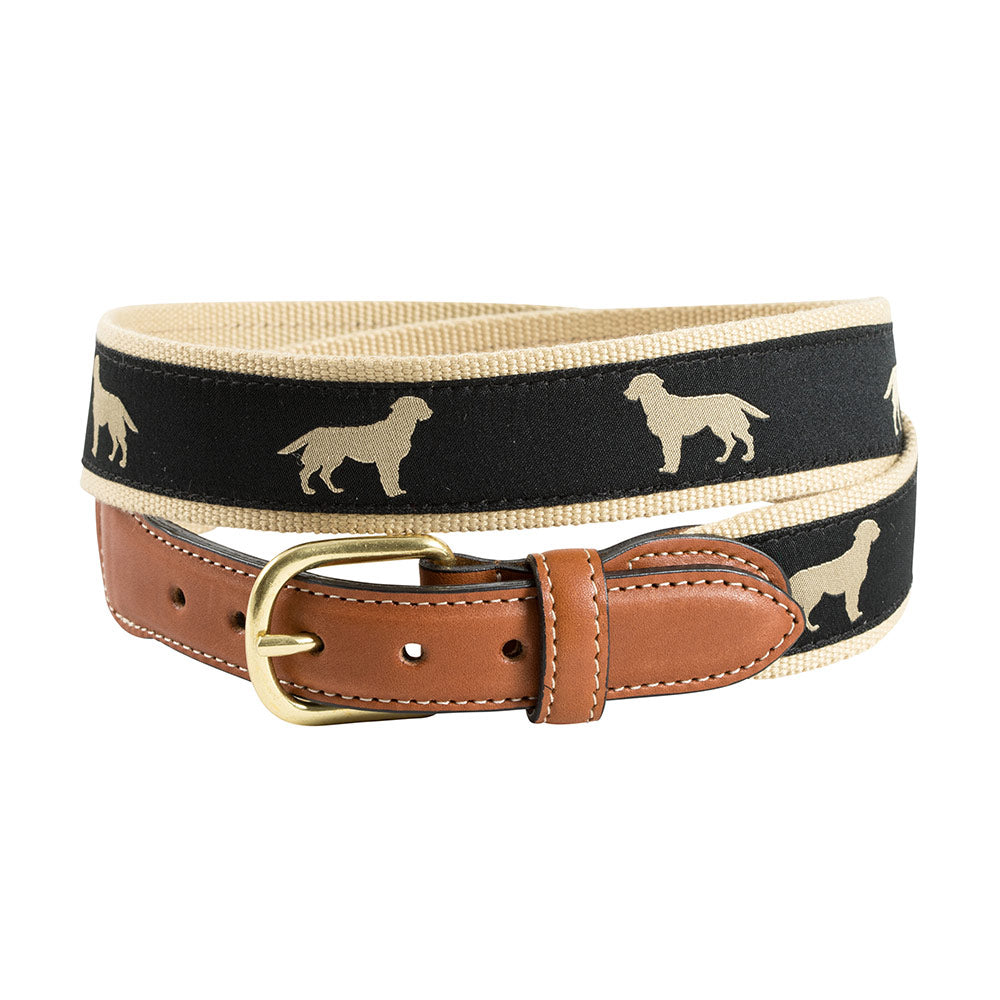 Golden Dog Motif Leather Tab Belt