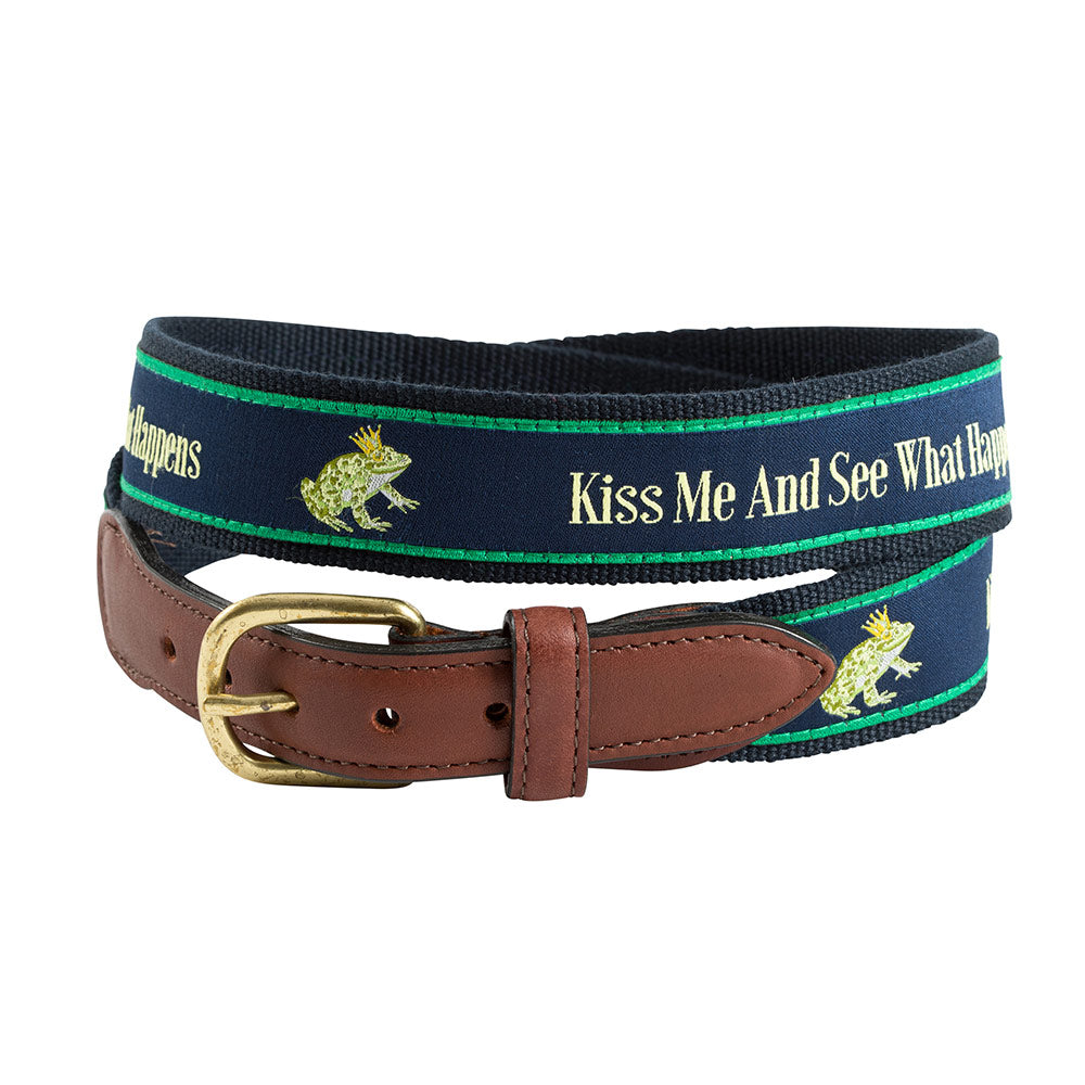 Kiss Me and See Bespoken Motif Leather Tab Belt