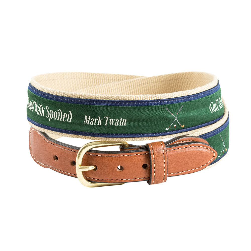 Golf Is in Tan Bespoken Motif Leather Tab Belt