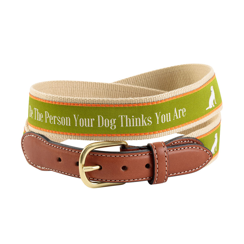 Be the Person on Tan Bespoken Motif Leather Tab Belt