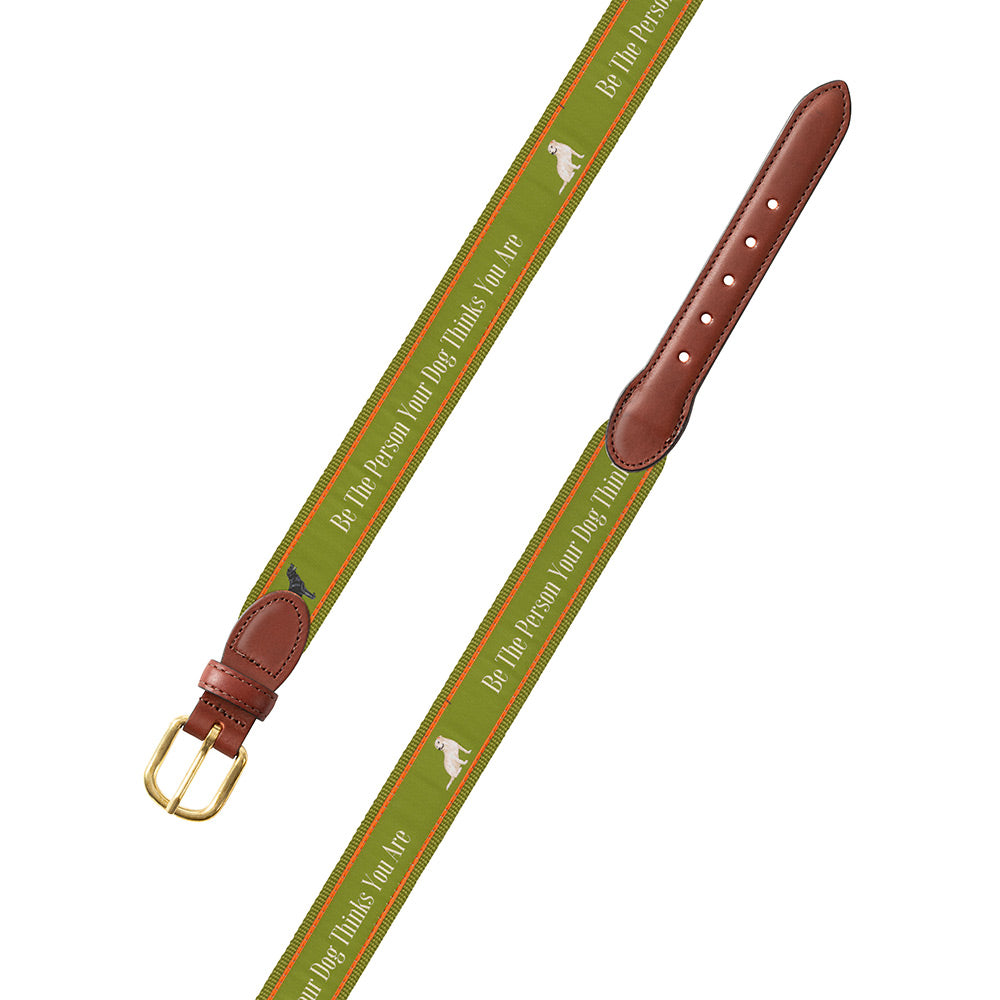 Be the Person on Green Bespoken Motif Leather Tab Belt