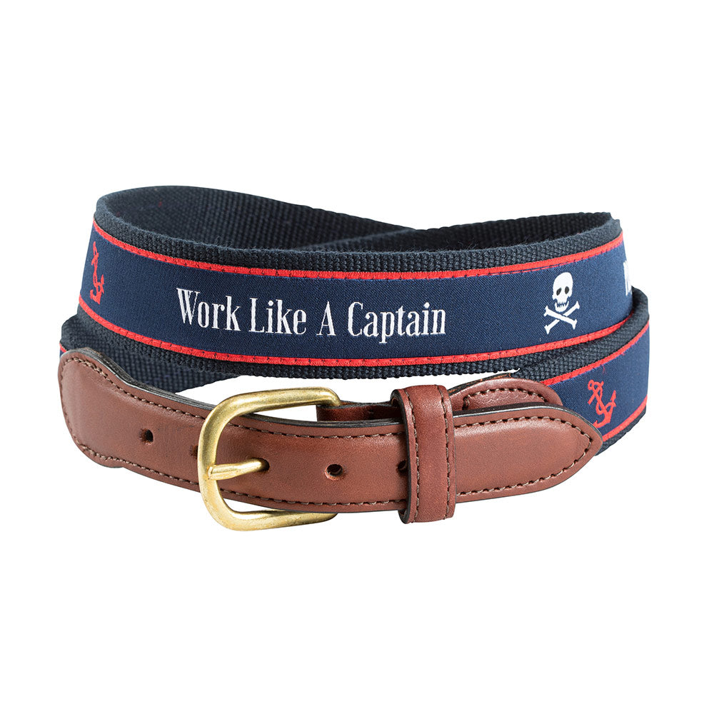Work Like a Captain Bespoken Motif Leather Tab Belt