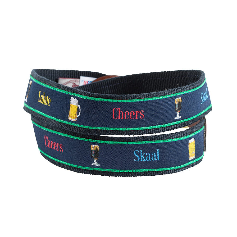 Cheers Bespoken Motif Leather Tab Belt