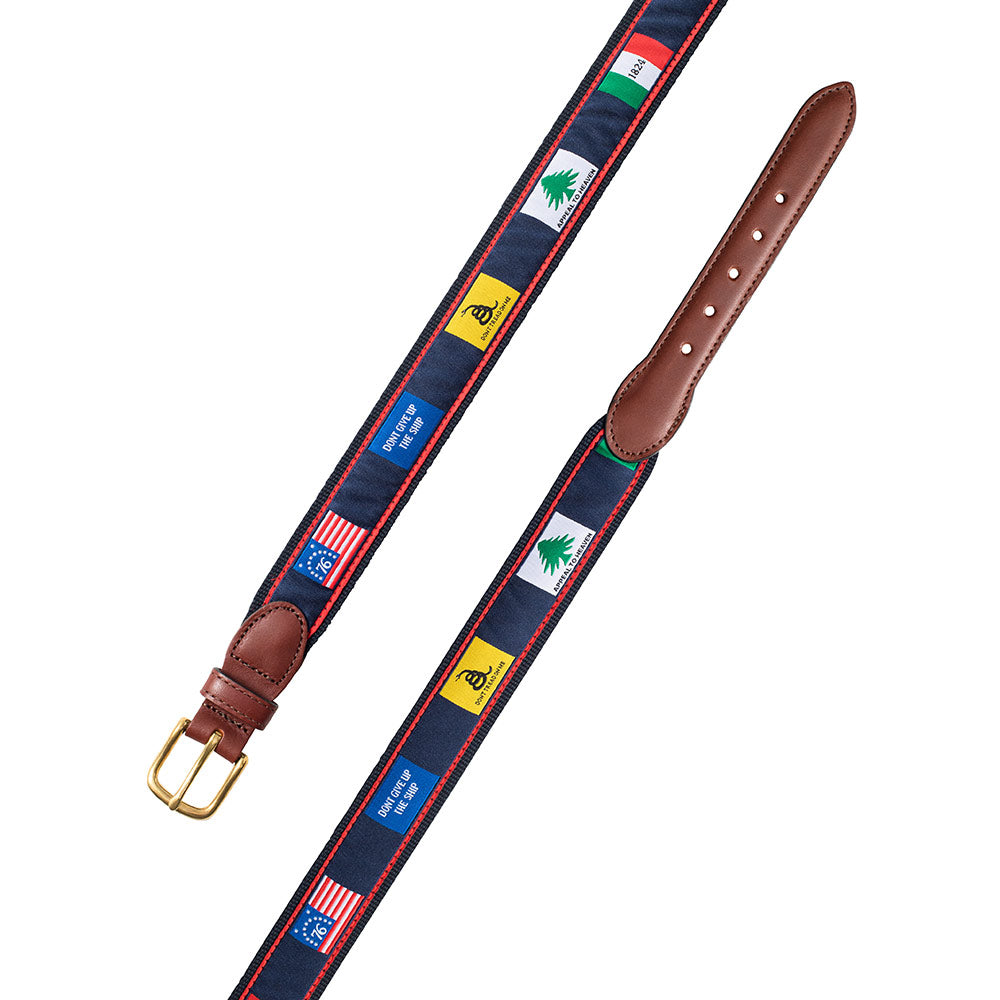 Founding Flags on Navy Bespoken Motif Leather Tab Belt
