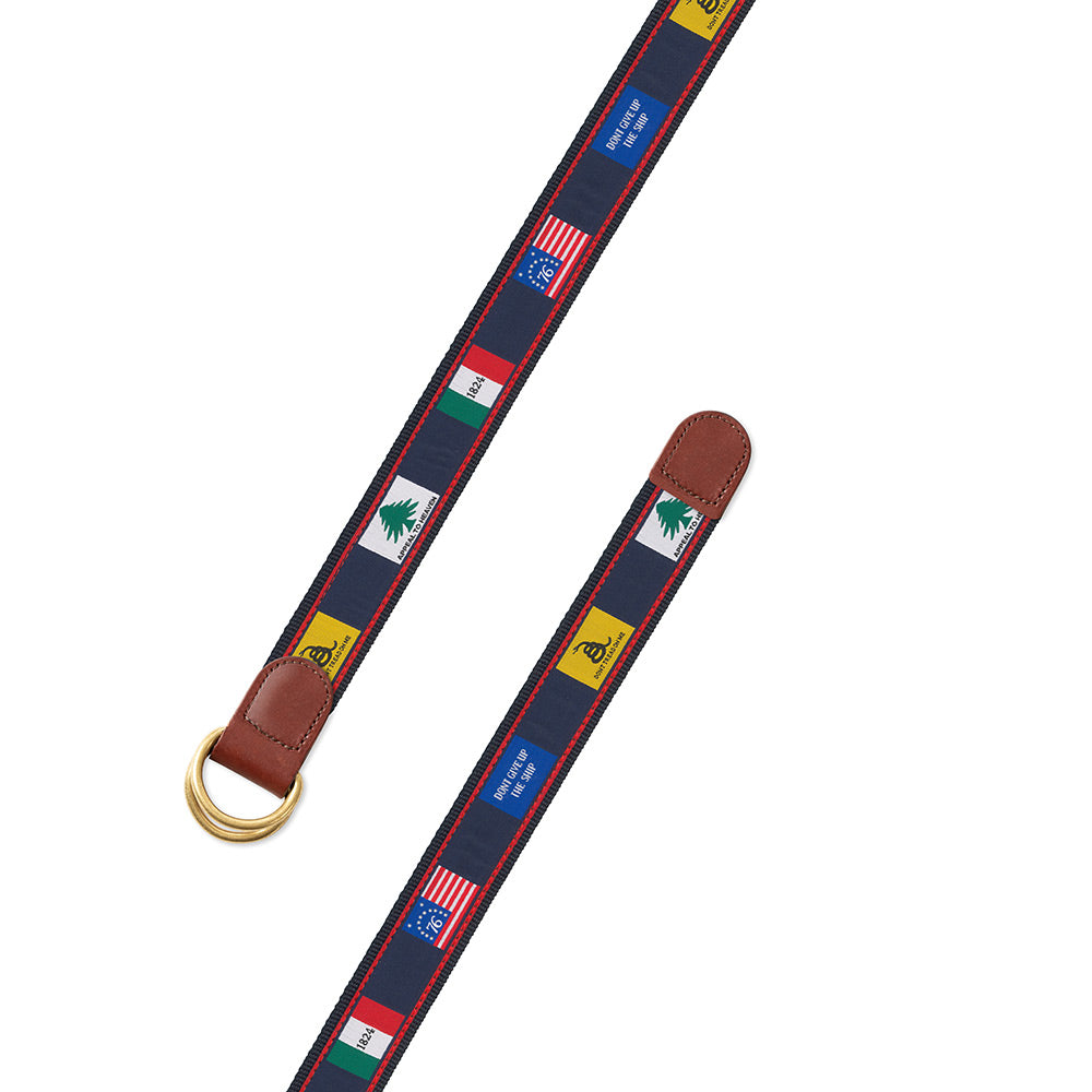 Founding Flags on Navy Bespoken Motif D-Ring Belt
