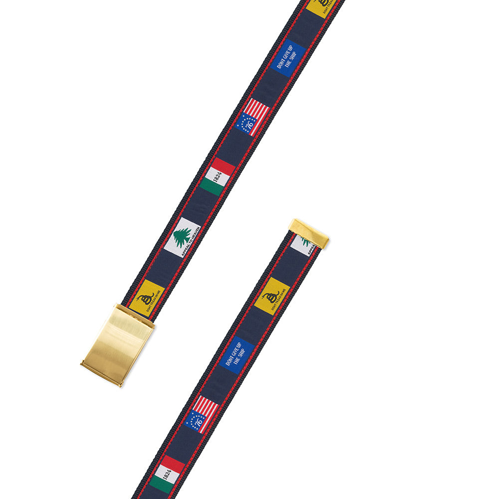 Founding Flags on Navy Bespoken Motif Military Buckle Belt