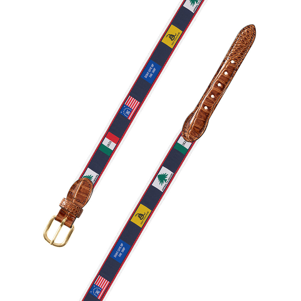 Founding Flags on White Bespoken Motif Leather Tab Belt