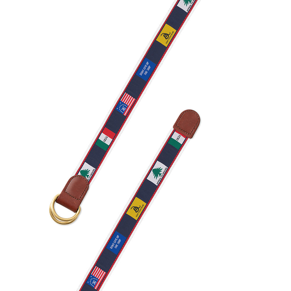 Founding Flags on White Bespoken Motif D-Ring Belt