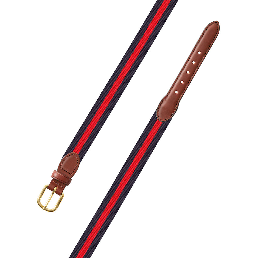 Navy & Red Surcingle Leather Tab Belt