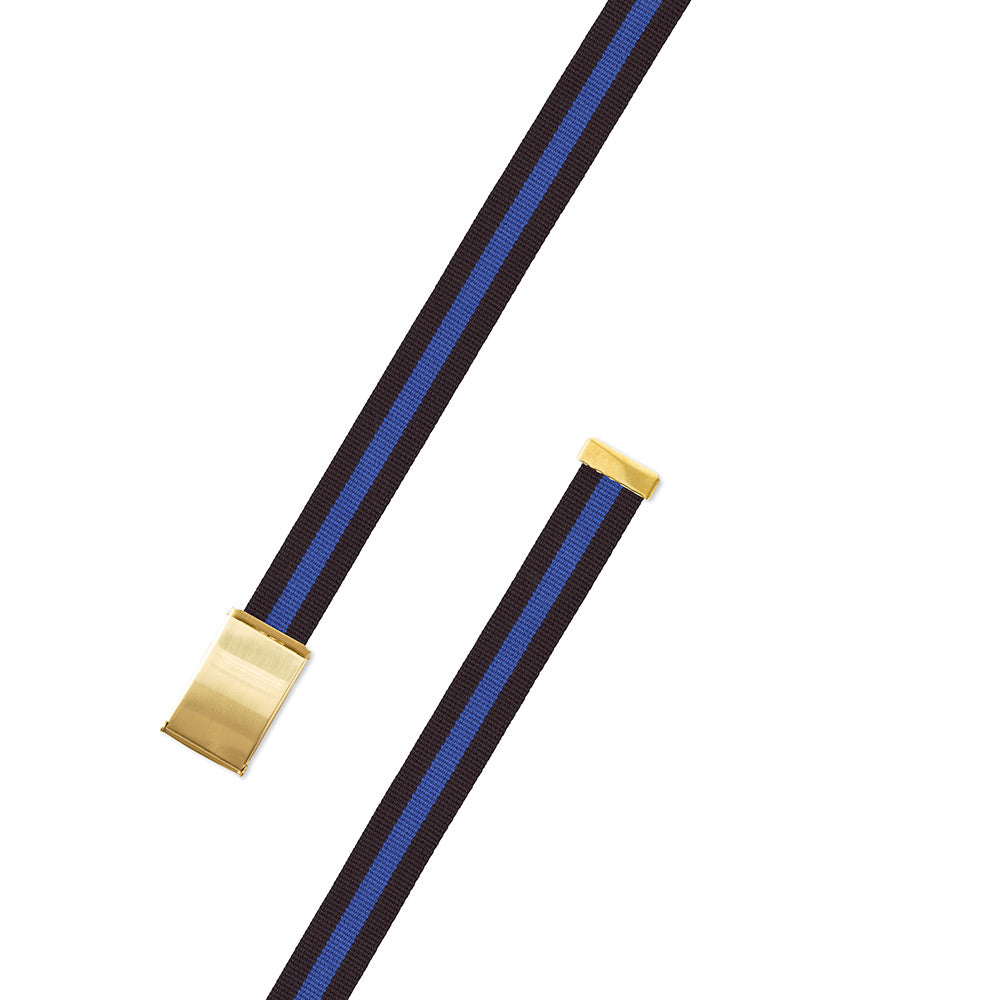 Black & Blue Surcingle Military Buckle Belt
