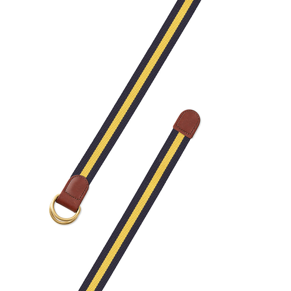 Navy & Yellow Surcingle D-Ring Belt