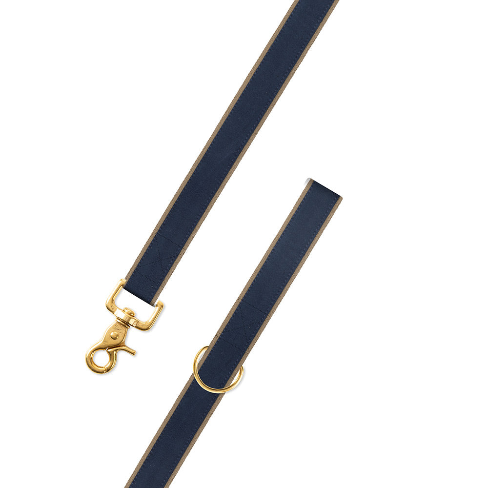 Navy on Tan Suede Dog Leash