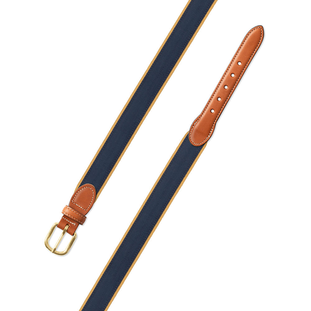 Navy on Gold Suede Leather Tab Belt